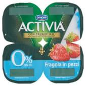 Danone, Activia 0% Grassi latte fermentato alla fragola in pezzi conf. 4x125 g