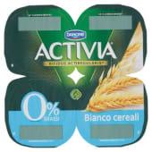 Danone, Activia 0% Grassi latte fermentato bianco ai cereali conf. 4x125 g, bianco e cereali integrali