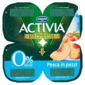 Danone, Activia 0% Grassi latte fermentato con pesca in pezzi conf. 4x125 g