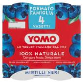 Yomo, 100% Naturale yogurt ai mirtilli neri conf. 4x125 g, mirtillo
