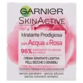 Garnier, SkinActive idratante prodigiosa con acqua di rosa lenitiva per pelli secche o sensibili 50 ml