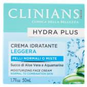 Clinians, Hydra Plus crema idratante leggera pelli normali o miste 50 ml