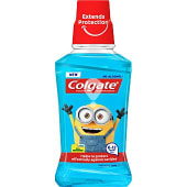 Plax enguaje bucal infantil Minions sabor a menta suave protege contra caries sin alcohol frasco 250 ml