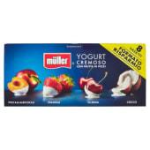 Müller, yogurt con frutta in pezzi pesca&albicocca/fragola/ciliegia/cocco conf. 8x125 g