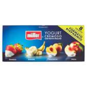 Müller, yogurt con frutta frullata fragola/banana/albicocca/pesca conf. 8x125 g