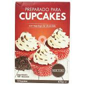 Preparado cupcakes con toppings de chocolate (moldes incluidos)