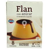 Flan en polvo con azúcar y caramelo