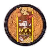 Tortilla patata con chorizo fresca con aceite oliva (incluye plato)