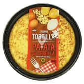 Tortilla patata con cebolla fresca con aceite oliva (incluye plato)