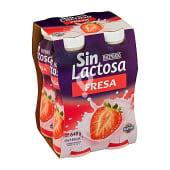 Yogur liquido fresa sin lactosa