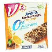 Barrita de cereales avena chocolate negro y naranja 0% azúcares añadidos