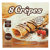 Crepes con helado de nata y salsa de chocolate congelados