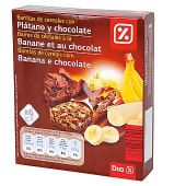 Barrita de cereales, chocolate y platano