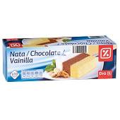 Helado tres sabores nata/chocolate/vainilla bloque