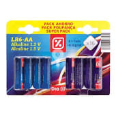 Pilas alcalinas LR6-AA pack 8 + 8 uds