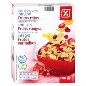 Cereales copos de arroz y trigo integral con frutos rojos paquete 300gr