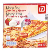 Pizza masa fina jamón y queso caja 350 gr