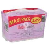 Toallitas bebé emulsión leche paquete 2 envase 72 ud