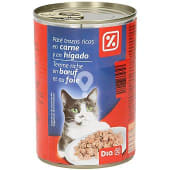 Alimento para gatos paté trozos carne e higado lata 400 gr