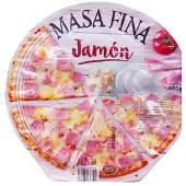 Pizza congelada jamón y queso masa fina
