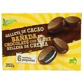 Galleta cacao bañada en chocolate con leche rellena de crema