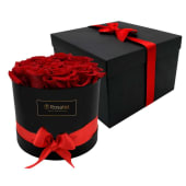 Sombrerera Negra Con 12 Rosas