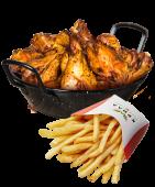 Крильця качині + картопля фрі