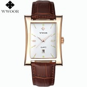 1e6a356a691a WWOOR Quartz leather strap unisex watch