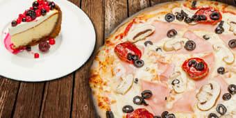 Pizza (23cm) + cheesecake