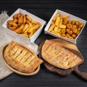 ქათმის ფინგერსის კალათა + ქათმის ბურთლების კალათა+2 პური ნივრის სოუსით