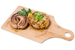 Куриная  колбаска по -домашнему с жареным картофелем