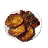 Currywurst (kiełbasa wegańska) z plackami ziemniaczanymi