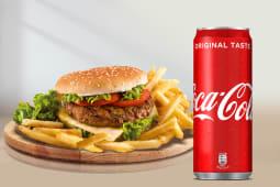 Hamburger di manzo e funghi + Coca-Cola