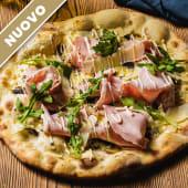 Pizza Funghi e mortadela di Bolonia