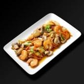 Crevettes sautées aux champignons