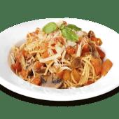 Spaguetti mediterráneo + champiñones + aceitunas verdes