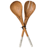 White Handle Wooden Salad Spoons
