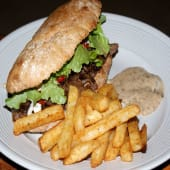 Beef sandwich and chips