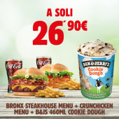 Bronx Steakhouse Menù + Crunchicken Menù + B&J's Cookie Dough 465 ml