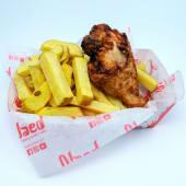 Pieza de pollo + papas fritas