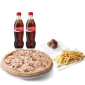 Menú pizza mediana + 2 bebidas (500 ml.) + 1 trufa