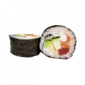 95. Futomaki de salmón, atún, gambas, pepino y aguacate (8 uds)