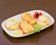Filetes de Pescada com Salada Russa