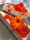 Fatia de Cheesecake com Geleia de Frutas
