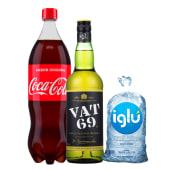 Vat 69 750 Ml + Coca Cola 1.5 Lt + Hielo 1.5 Kg