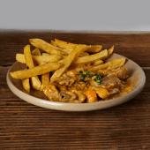 Guiso de pavo al strogonoff con las fritas