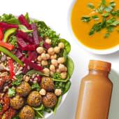 Zestaw Sałatka Wege Miska z zupą i sokiem