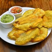 Patacones con guacamole y pico de gallo (5 ud.)