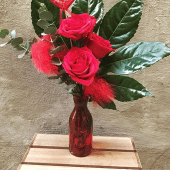 Jarrón con 3 rosas