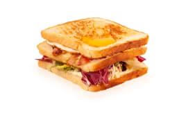 Sándwich Viena De Pavo, Edam, Bacon Y Vegetales